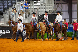 Belgisches Reining Team<br /> Tryon - FEI World Equestrian Games™ 2018<br /> Siegerehrung Teams<br /> Reining Teamwertung und 1.Einzelqualifikation<br /> 12. September 2018<br /> © www.sportfotos-lafrentz.de/Stefan Lafrentz