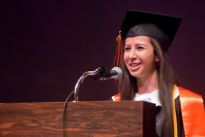 Lathan Goumas | MLive.com..Yara Abuaita, 17, speaks during the 2012 Flushing High School commencement ceremony at the Whiting Theater in Flint, Mich. on Sunday June 3, 2012.