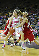 February 16 2011: Wisconsin Badgers forward/center Cassie Rochel (43) steals the ball from Iowa Hawkeyes forward Kelsey Cermak (22) during the first half of an NCAA women's college basketball game at Carver-Hawkeye Arena in Iowa City, Iowa on February 16, 2011. Iowa defeated Wisconsin 59-44.