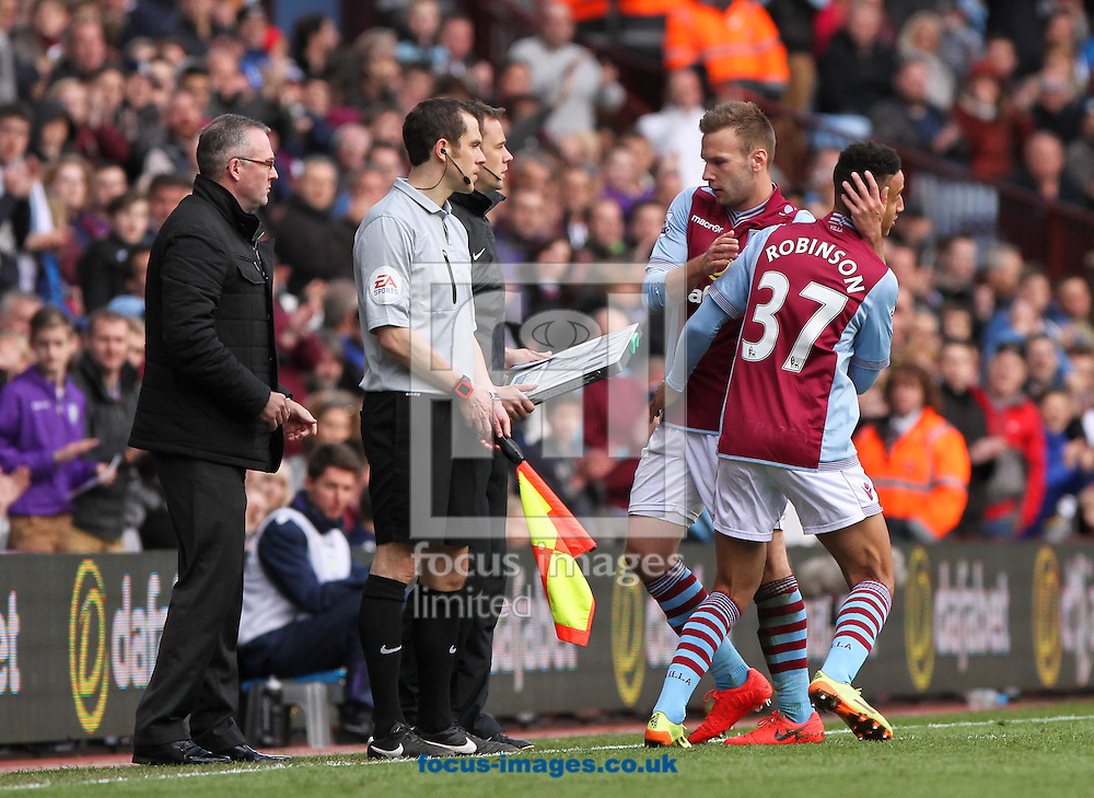 Callum Robinson (right) of Aston Villa comes on as a sub during the Barclays Premier League match at Villa Park, Birmingham<br /> Picture by Tom Smith/Focus Images Ltd 07545141164<br /> 19/04/2014