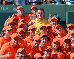 April 1, 2018 - Miami, FL, United States - KEY BISCAYNE, FL - APRIL 1: John Isner (USA) is surrounded by ballboys after defeating Alexander Zverev (GER) 67(4) 64 64 2018 Miami Open held at the Tennis Center at Crandon Park on April 1, 2018.   Credit: Andrew Patron/Zuma Wire (Credit Image: © Andrew Patron via ZUMA Wire)