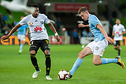 MELBOURNE, VIC - NOVEMBER 09: Melbourne City defender Conor Metcalfe (34) competes with Wellington Phoenix forward Roy Krishna (21) at the Hyundai A-League Round 4 soccer match between Melbourne City FC and Wellington Phoenix on November 09, 2018 at AAMI Park in Melbourne, Australia. (Photo by Speed Media/Icon Sportswire)