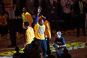 Golden State Warriors forward Kevin Durant (35) enters the court during pregame activities during Game 1 of the Western Conference Semifinals against the Utah Jazz at Oracle Arena in Oakland, Calif., on May 2, 2017. (Stan Olszewski/Special to S.F. Examiner)