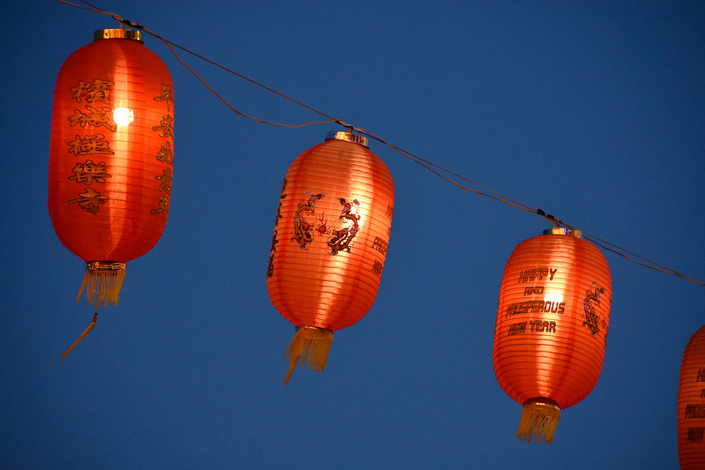 Red Lanterns hang ready to be lit up at dusk for Chinese New Year 2018