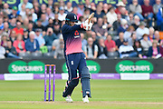 Joe Root of England hits the ball to the boundary for four runs during the One Day International match between England and West Indies at the Brightside County Ground, Bristol, United Kingdom on 24 September 2017. Photo by Graham Hunt.