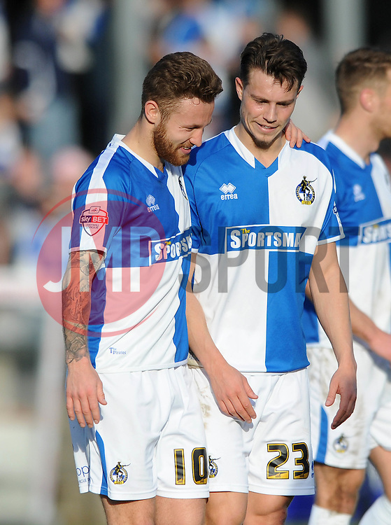 Matt Taylor of Bristol Rovers with Billy Bodin of Bristol Rovers - Mandatory by-line: Dougie Allward/JMP - Mobile: 07966 386802 - 25/03/2016 - FOOTBALL - Memorial Stadium - Bristol, England - Bristol Rovers v Cambridge United - Sky Bet League Two