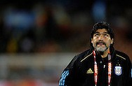 Argentina's national team coach Diego Armando Maradona gestures before the World Cup South Africa 2010 soccer match against Greci, at Peter Mokaba stadium, in Polokwane, South Africa, on June 22, 2010.  (Alejandro Pagni/PHOTOXPHOTO)