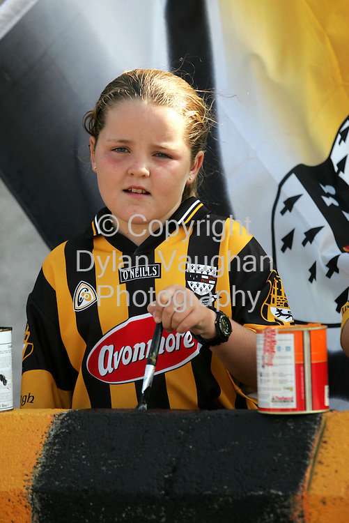 8/9/2004.Kirsty Maher aged 7 pictured painting the walls on Pearse Street in the Butts in Kilkenny..Picture Dylan Vaughan