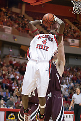 29 December 2006: Anthony Slack gets inside of Matt Shaw for a close look at a basket. The Salukis of Southern Illinois University beat the Redbirds 68-49 at Redbird Arena in Normal Illinois on the campus of Illinois State University.<br />