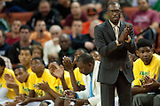 Dallas Madison head coach Damien Mobley looks on against Houston Yates during the UIL 3A state championship game at the Frank Erwin Center in Austin on Saturday, March 9, 2013. (Cooper Neill/The Dallas Morning News)