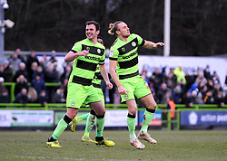 Joseph Mills of Forest Green Rovers celebrates his goal  - Mandatory by-line: Nizaam Jones/JMP- 09/02/2019 - FOOTBALL - New Lawn Stadium- Nailsworth, England - Forest Green Rovers v Notts County - Sky Bet League Two
