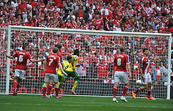 Cameron Jerome fires in Norwich First Gpal, Middlesbrough v Norwich, Sky Bet Championship, Play Off Final, Wembley Stadium, Monday  25th May 2015