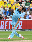 Mark Wood of England bowling during the ICC Cricket World Cup 2019 semi final match between Australia and England at Edgbaston, Birmingham, United Kingdom on 11 July 2019.