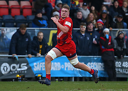Joe Batley of Bristol Rugby runs the length of the pitch to score a try - Mandatory by-line: Robbie Stephenson/JMP - 13/01/2018 - RUGBY - Castle Park - Doncaster, England - Doncaster Knights v Bristol Rugby - B&I Cup