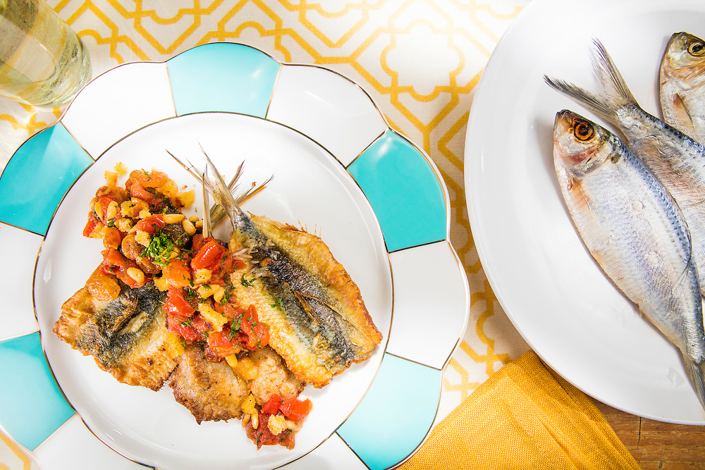 Sardines with pine nuts, sultanas and fresh tomatoes  -- photographed for Chef Alan Hughes' seafood cookbook