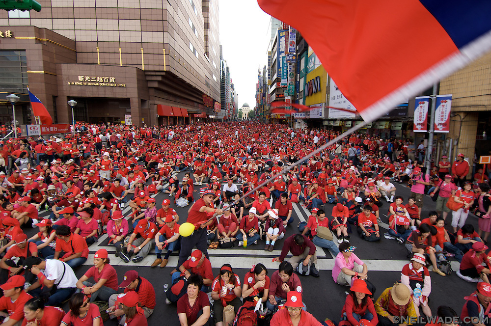 People dressed in red at a political protest to depose President Chen in 2006 in Taipei, Taiwan.