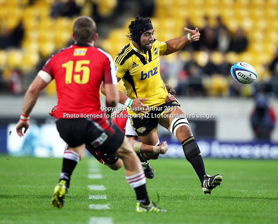 Hurricanes Victor Vito loses control of the ball in the tackle.Investec Super 15 rugby match - Hurricanes v Lions, at Westpac Stadium, Wellington, New Zealand on Saturday 4 June 2011. Photo: Justin Arthur / photosport.co.nz