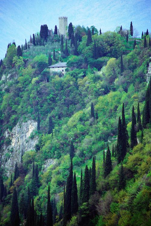 Hillside above Lake Como and Castle Vezio near Varenna, Italy.