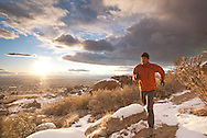 trail running the sandia mountains of albuquerque, new mexico.