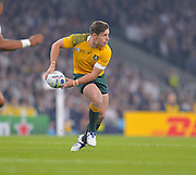 Bernard Foley on the attack during the Rugby World Cup Pool A match between England and Australia at Twickenham, Richmond, United Kingdom on 3 October 2015. Photo by Ian Muir.
