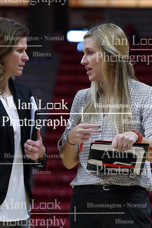 01 January 2017: Lisa Hayden & Katie Ehlen during an NCAA Missouri Valley Conference Women's Basketball game between Illinois State University Redbirds the Braves of Bradley at Redbird Arena in Normal Illinois.