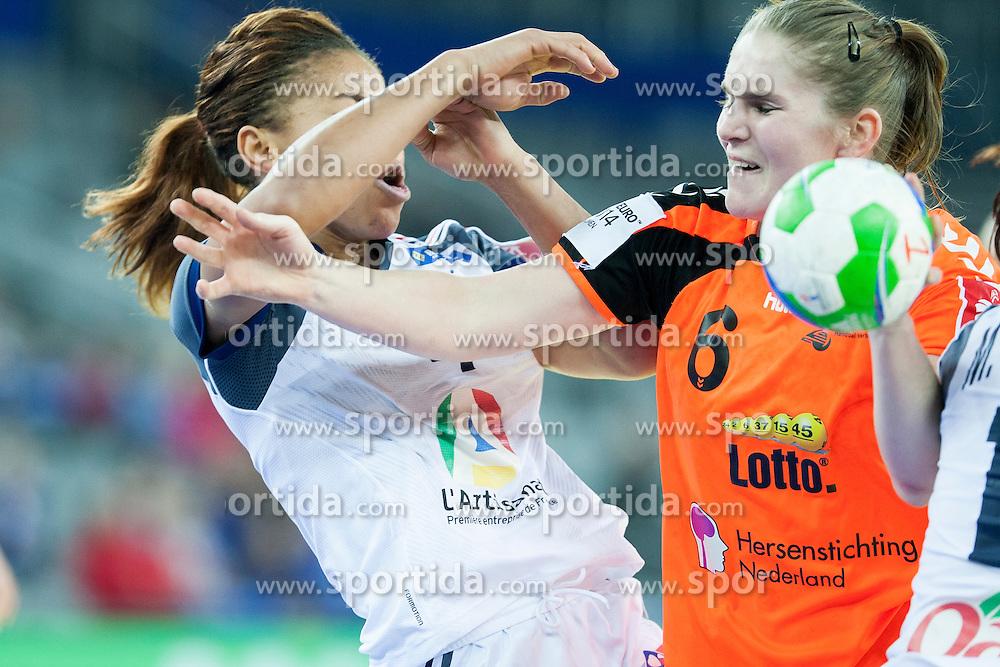 Laura Van Der Heijden #6 of Netherlands at handball match between Netherlands and France at 11th EHF European Women's Handball Championship Hungary-Croatia 2014, on December 17, 2014 in Arena Zagreb, Zagreb, Croatia. Photo By Urban Urbanc / Sportida