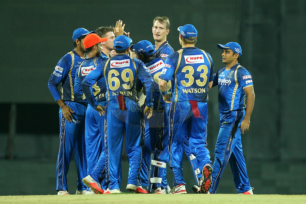 Chris Morris  of Rajasthan Royals celebrates wicket of Suresh Raina during match 47 of the Pepsi IPL 2015 (Indian Premier League) between The Chennai Superkings and The Rajasthan Royals held at the M. A. Chidambaram Stadium, Chennai Stadium in Chennai, India on the 10th May 2015.Photo by:  Prashant Bhoot / SPORTZPICS / IPL