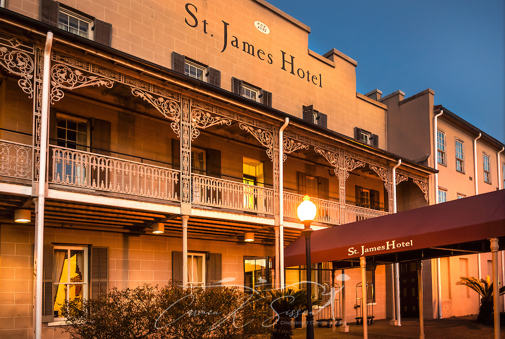 The sun sets on the St. James Hotel, Feb. 14, 2015, in Selma, Alabama. The hotel was built in 1837 and is believed to be one of the only surviving riverfront antebellum hotels in existence. (Photo by Carmen K. Sisson/Cloudybright)