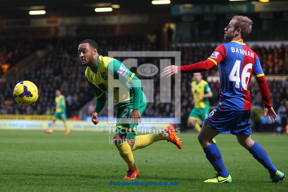 Picture by Paul Chesterton/Focus Images Ltd +44 7904 640267<br /> Nathan Redmond of Norwich and Barry Bannan of Crystal Palace in action during the Barclays Premier League match at Carrow Road, Norwich.
