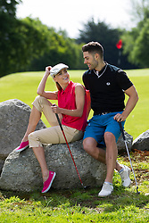 Repro Free: 24/06/2013 Models Sarah Morrissey and Craig Healy looked like pros today in The Burrow Golf Course, Stepaside, Dublin 18 as they showcase the best in designer golf apparel from labels-for-less retailer TK Maxx. Offering contemporary golf wear that combines style, tailoring and performance for golfers to sport on and off the course, TK Maxx Ireland has everything you need before teeing off all with up to 60% off the RRP. For more information, visit www.tkmaxx.ie or find them on Facebook. Picture Andres Poveda<br /> <br /> Sarah<br /> Shirt ?12.99<br /> Pants ?34.99<br /> Shoes ?34.99<br /> Hat ?19.99<br /> <br /> Craig<br /> Vest ?34.99<br /> Shirt ?22.99<br /> Shorts ?26.99<br /> Belt ?16.99<br /> Shoes ?54.99