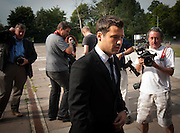 Mark Wright arrives at Redbridge Magistrates court in Essex on August 03rd 2011..Jade Goody's widower, 23, appears charged with threatening and abusive behaviour, in relation to an alleged incident outside Deuces Bar and Lounge, in Chigwell, Essex, on January 3. Appearing alongside are Tweed's younger brother Lewis, 20, and friend Mark Wright, 24, who appeared on reality TV show The Only Way Is Essex...