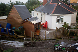 © Licensed to London News Pictures. 18/07/2017. Coverack, UK.  Damaged property after flash floods hit Cornish village of Coverack this afternoon after heavy rainfall.  Photo credit: Ashley Hugo/LNP