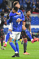 Football - 2019 / 2020 Emirates FA Cup - Fourth Round, Replay: Cardiff City vs. Reading<br /> <br /> Josh Murphy of Cardiff celebrates scoring his team's first goal, at the Cardiff City Stadium.<br /> <br /> COLORSPORT/WINSTON BYNORTH