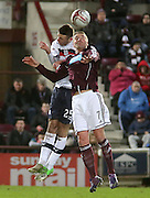 Dundee's Lewis Toshney  and Hearts' Ryan Stevenson  - Hearts v Dundee in the Clydesdale Bank, Scottish Premier League at Tynecastle.. - © David Young - www.davidyoungphoto.co.uk - email: davidyoungphoto@gmail.com