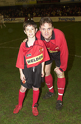 CRAIG NORMAN KETTERING TOWN WITH MASCOT,  Kettering Town v Ilkestone Rockingham Road,  19th March 2002,