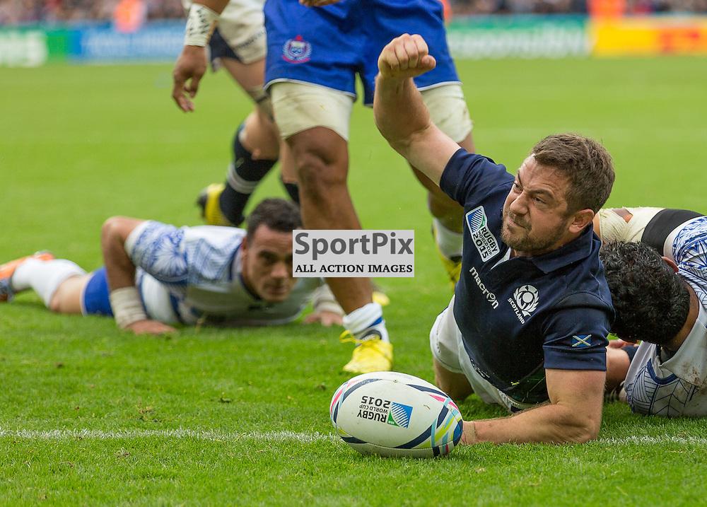 Scotland #9 Greig Laidlaw ce;ebrates a second half try.  Scotland v Samoa, 10th October 2015