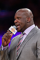 02 April 2013: Retired Los Angeles Lakers center (34) Shaquille O'Neal speaks during the Shaquille O'Neal jersey retirement ceremony during halftime of  the Lakers 101-81 victory over the Dallas Mavericks at the STAPLES Center in Los Angeles, CA.