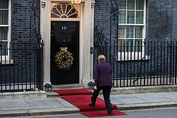 London, UK. 3 December, 2019. German Chancellor Angela Merkel arrives at 10 Downing Street to attend a meeting between French President Emmanuel Macron and Turkish President Recep Tayyip Erdoğan hosted by Prime Minister Boris Johnson to discuss the ongoing dispute between France and Turkey following the Turkish invasion of Kurdish-controlled areas of northern Syria.