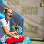 August 23, 2016, New Haven, Connecticut: <br /> Svetlana Kuznetsova of Russia plays tennis during a Latino Day clinic at the AETNA Fit Zone during Day 5 of the 2016 Connecticut Open at the Yale University Tennis Center on Tuesday, August  23, 2016 in New Haven, Connecticut. <br /> (Photo by Billie Weiss/Connecticut Open)