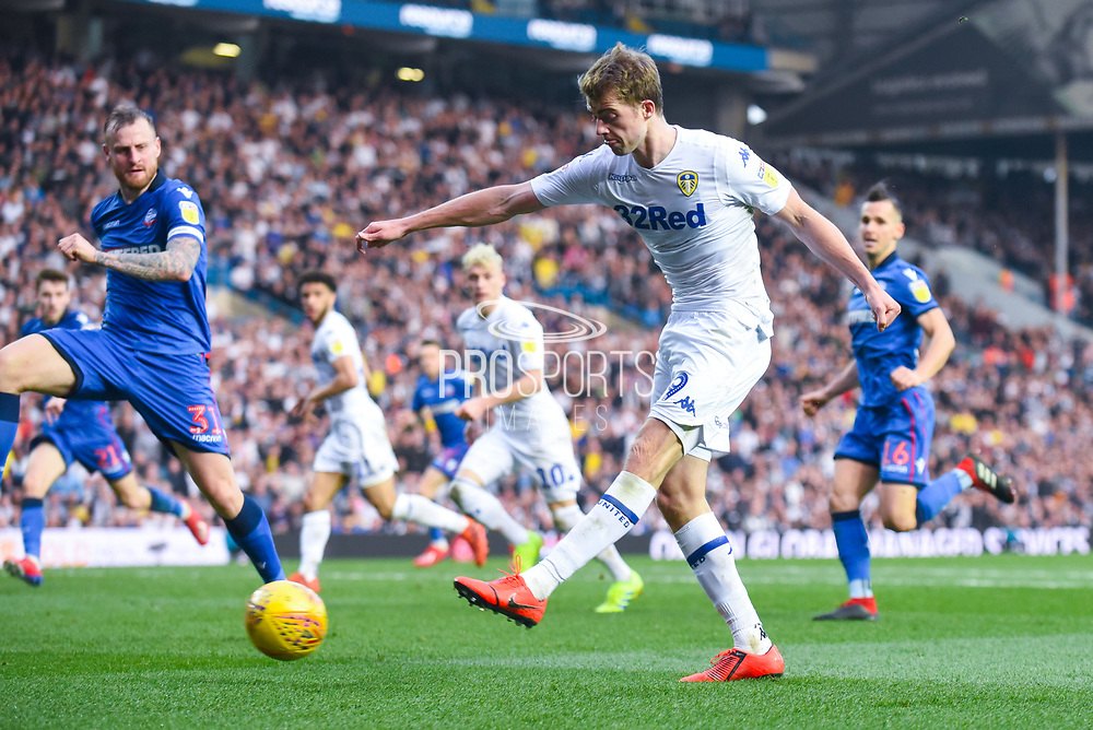 Patrick Bamford of Leeds United (9) shoots during the EFL Sky Bet Championship match between Leeds United and Bolton Wanderers at Elland Road, Leeds, England on 23 February 2019.