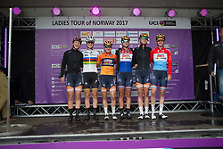 Boels-Dolmans Cycling Team riders line up on the sign-on podium before Stage 3 of the Ladies Tour of Norway - a 156.6 km road race, between Svinesund (SE) and Halden on August 20, 2017, in Ostfold, Norway. (Photo by Balint Hamvas/Velofocus.com)