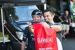 Kirsten Wild (NED) of Wiggle High5 Cycling Team smiles for a selfie before Stage 2 of the Madrid Challenge - a 100.3 km road race, starting and finishing in Madrid on September 16, 2018, in Spain. (Photo by Balint Hamvas/Velofocus.com)