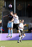 Photo: Mark Stephenson/Richard Lane Photography. <br /> Hereford United v Bury. Coca-Cola League Two. 21/03/2008. Bury's Richie Baker wins the ball from Hereford's Ben Smith