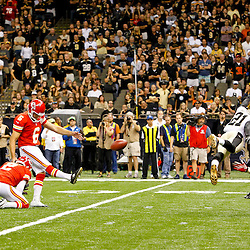September 23, 2012; New Orleans, LA, USA; Kansas City Chiefs place kicker Ryan Succop (6) kicks a field goal to win over the New Orleans Saints in overtime of a game at the Mercedes-Benz Superdome. The Chiefs defeated the Saints 27-24 in overtime. Mandatory Credit: Derick E. Hingle-US PRESSWIRE