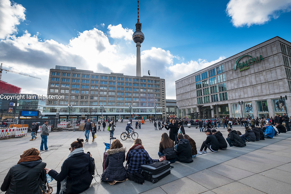 View of Alexanderplatz and Television Tower in Mitte Berlin, Germany