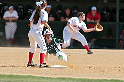 09 May 2014:  Sara Rogers slides safely into 2nd base during an NCAA Division III women's softball championship series game between the Lake Forest Foresters and the Illinois Wesleyan Titans in Bloomington IL