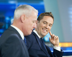 Simon Thomas and Jim White at the Sky Sports TV studio for the transfer Deadline Day show..© Michael Schofield...