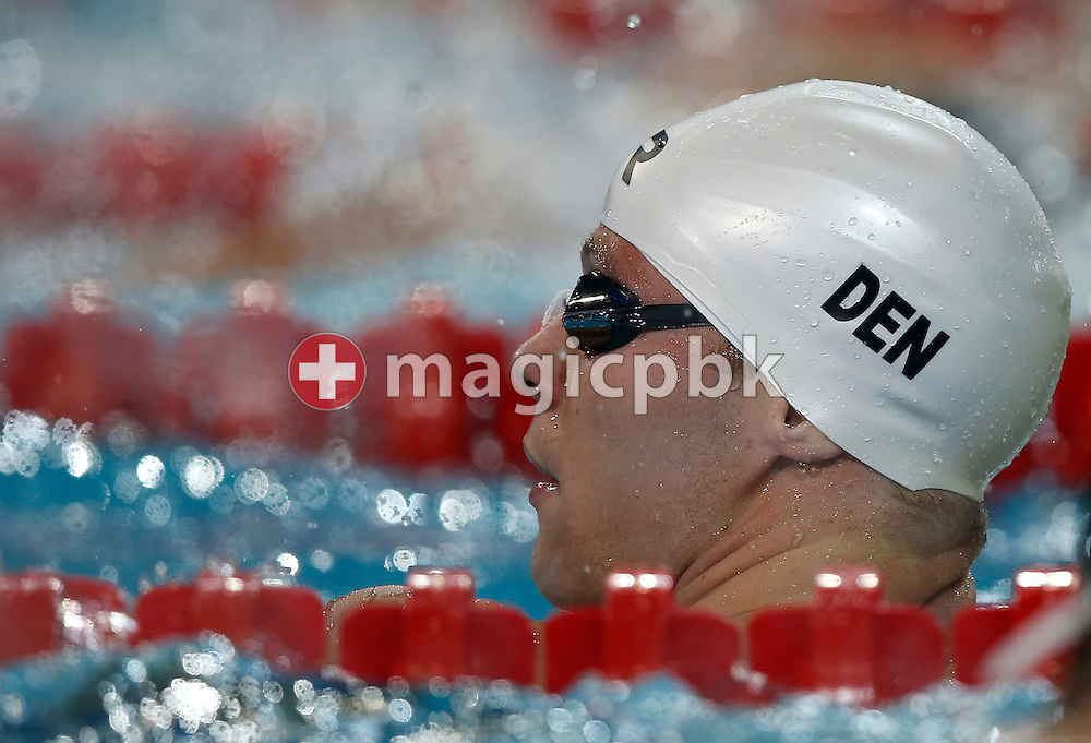 Mads GLAESNER of Denmark looks back after competing in the men's 400m Freestyle Heats during the 11th Fina World Short Course Swimming Championships held at the Sinan Erdem Arena in Istanbul, Turkey, Friday, Dec. 14, 2012. (Photo by Patrick B. Kraemer / MAGICPBK)