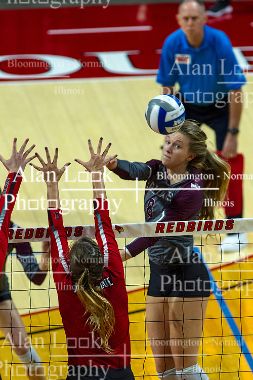 BLOOMINGTON, IL - September 28: Hannah Becker during a college Women's volleyball match between the ISU Redbirds and the Southern Illinois Salukis on September 28 2019 at Illinois State University in Normal, IL. (Photo by Alan Look)
