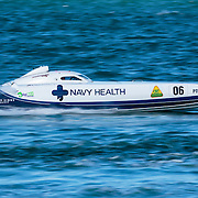 Navy Health winds up in a straight, Inboard Engine Class, in the Offshore Superboat Championships Coffs Harbour, New South Wales, Australia